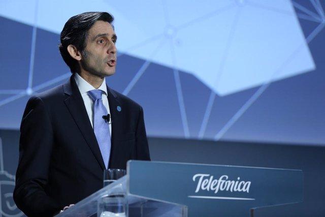El presidente ejecutivo de Telefónica, José María Álvarez-Pallete, durante al junta general de accionistas de 2020