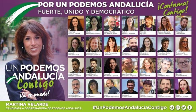 Integrantes de la candidatura 'Un Podemos Andalucía contigo', liderada por la diputada Martina Velarde.