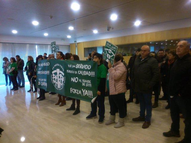 Protesta de los interinos de la Diputación de Sevilla