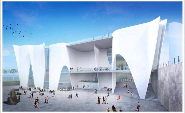 Projecte del museu Hermitage (projecte de Toyo Ito) en la Nova Bocana del Port de Barcelona