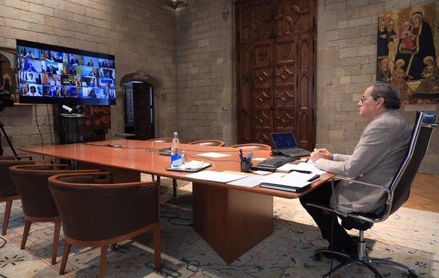 El presidente de la Generalitat, Quim Torra, en la 14 videoconferencia de presidentes autonómicos con el Gobierno, a 14 de junio de 2020.