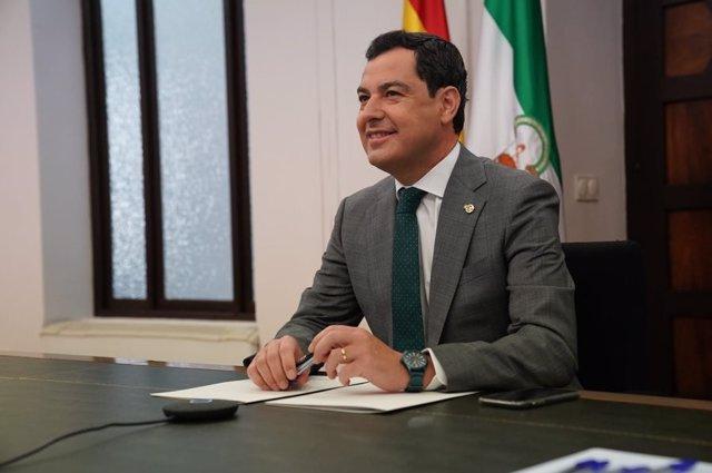 El presidente de la Junta de Andalucía, Juan Manuel Moreno Bonilla, a 14 de junio de 2020.