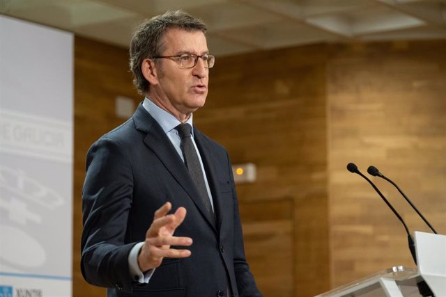 El presidente de la Xunta, Alberto Núñez Feijóo, en rueda de prensa.