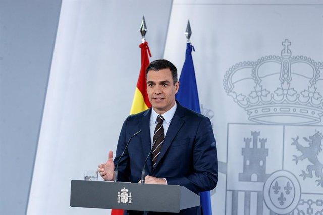 El presidente del Gobierno, Pedro Sánchez, lleva a cabo una rueda de prensa, en Madrid (España) a 7 de junio de 2020.