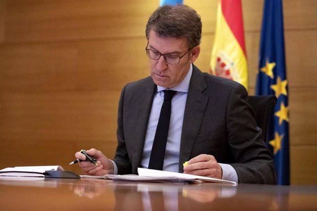 El presidente de la Xunta, Alberto Núñez Feijóo, en la videoconferencia de líderes autonómicos.