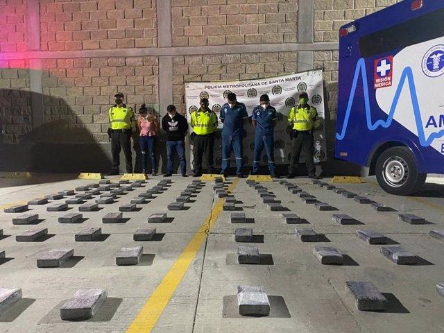 Colombia.- Descubren un cargamento de 120 kilos de cocaína en una ambulancia fal