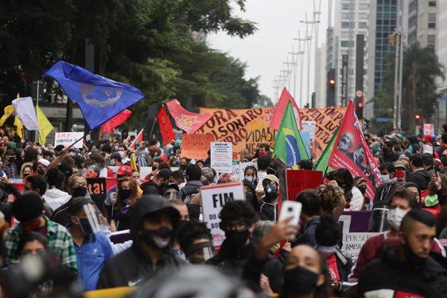 Manifestació contra el racisme i el president del Brasil, Jair Bolsonaro, a Sao Paulo.