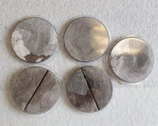 Filtros de aire usados para meir el isótopo