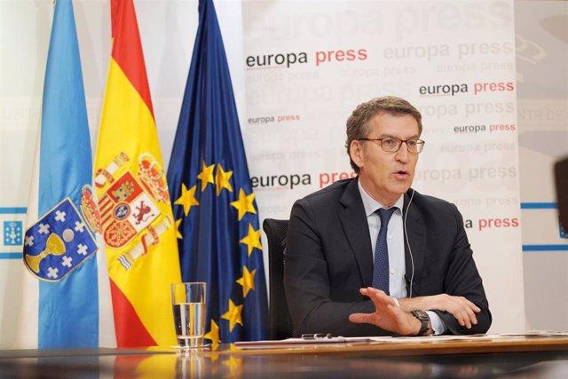 El presidente de la Xunta de Galicia, Alberto Núñez Feijóo, participa en uno de los Encuentros Digitales de Europa Press  en Santiago de Compostela, A Coruña, Galicia (España), a 15 de junio de 2020.