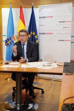 Feijóo participa en uno de los Encuentros Digitales de Europa Press  en Santiago de Compostela, A Coruña, Galicia (España), a 15 de junio de 2020.