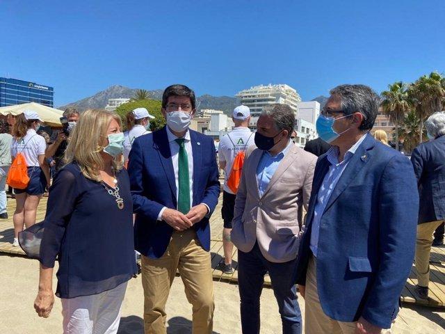 La alcaldesa de Marbella, Ángeles Muñoz; el vicepresidente andaluz, Juan Marín; el consejero de Presidencia, Elías Bendodo y el presidente de la Diputación y de Turismo Costa del Sol, Francisco Salado.