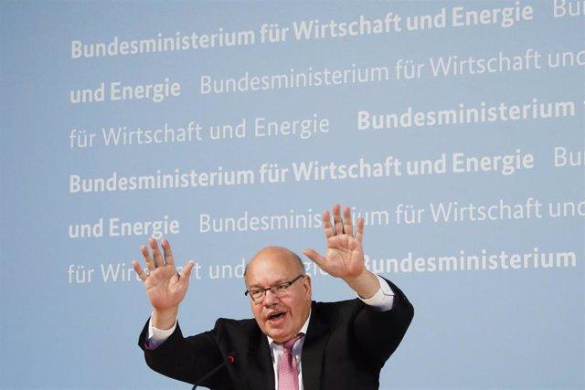 El ministro de Economía y Energía de Alemania, Peter Altmaier, durante la rueda de prensa para anunciar una inversión de 300 millones en CureVac