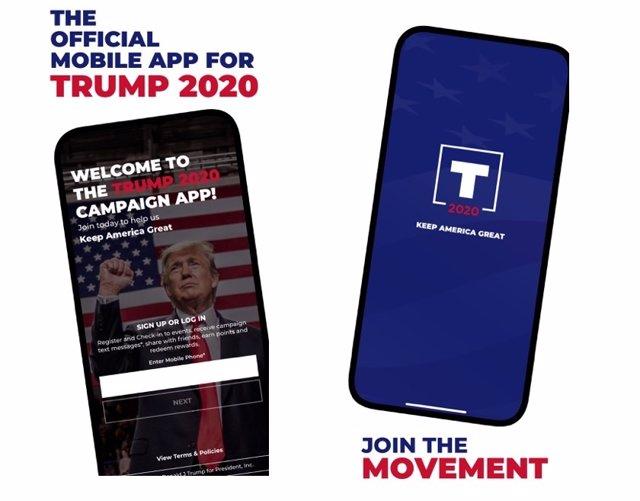 Aplicación móvil de la campaña de reelección del presidente de Estados Unidos, Donald Trump