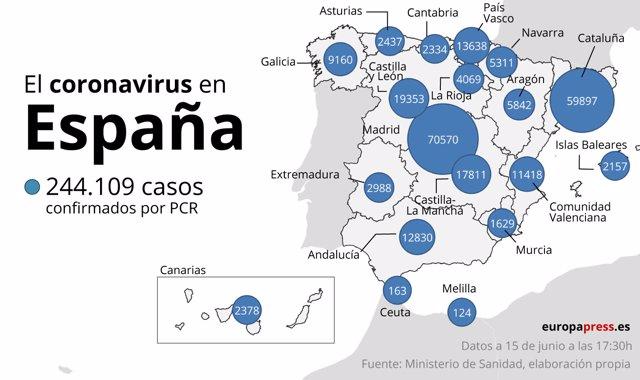 El coronavirus en España a 15 de junio