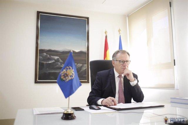 El presidente de Melilla, Eduardo de Castro, en la conferencia