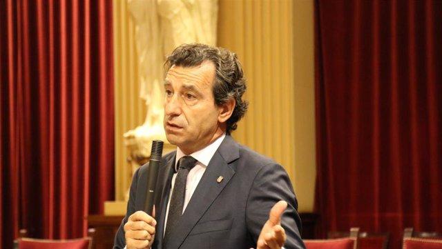 El presidente del PP balear y portavoz del Grupo Parlamentario Popular, Biel Company, en el pleno del Parlament.