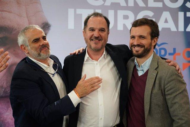 El president de Ciutadans al Parlament de Catalunya, Carlos Carrizosa, el candidat a lehendakari de la coalició PP+Cs, Carlos Iturgaiz, i el president del PP, Pablo Casado. A santurtzi (Biscaia/País Basc/Espanya), 7 de març del 2020.