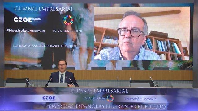 Simón Pedro Barceló durante su intervención en la cumbre organizada por la patronal CEOE.