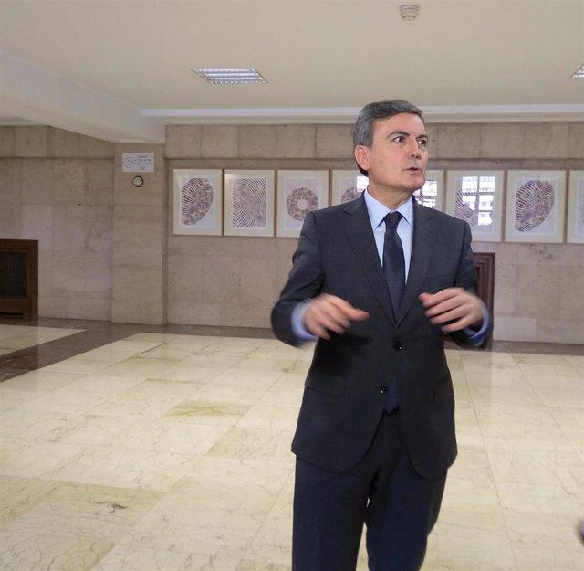 El secretario de Estado de Infraestructuras, Transporte y Vivienda, Pedro Saura, en su intervención para hablar de fallo del Constitucional sobre el real decreto ley de vivienda en alquiler