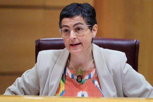 La ministra de Asuntos Exteriores, Unión Europea y Cooperación, Arancha González Laya, comparece ante la Comisión de Asuntos Exteriores del Senado, este jueves en Madrid (España), a 21 de mayo de 2020.