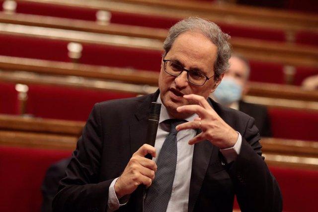 El presidente del Govern, Quim Torra, en el pleno del Parlament del 3 de junio.