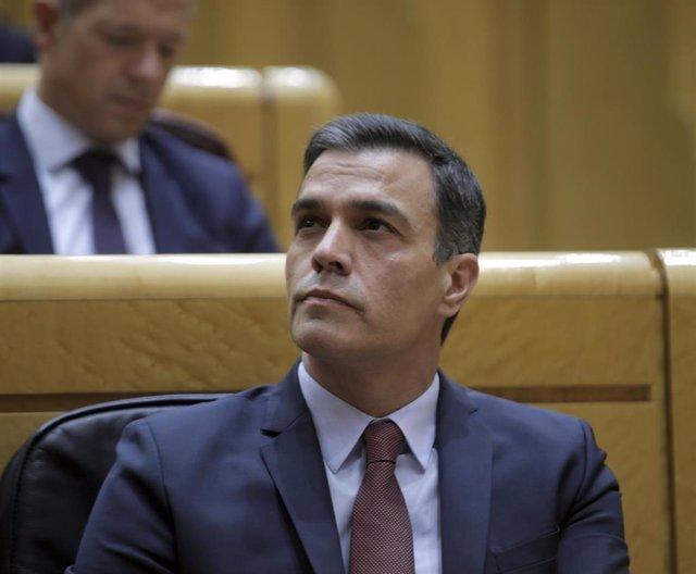 El presidente del Gobierno, Pedro Sánchez, durante la sesión de control al Gobierno en el Senado. En Madrid (España) a 16 de junio de 2020.