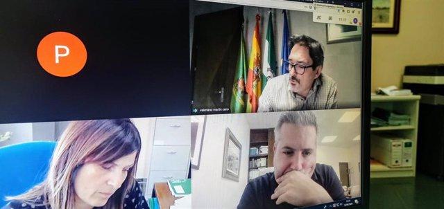 Antonio Sutil,  Reunido De Forma Telemática Con El Alcalde De Alcaudete (Jaén), Valeriano Martín.