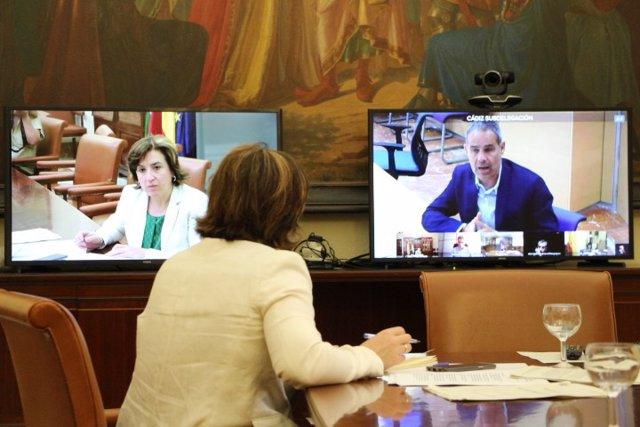 Imagen de la reunión telemática celebrada en la Delegación del Gobierno en Andalucía sobre el protocolo de posibles casos positivos de coronavirus entre inmigrantes.