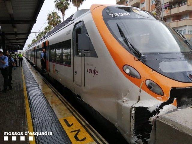 Tren accidentado en Mataró