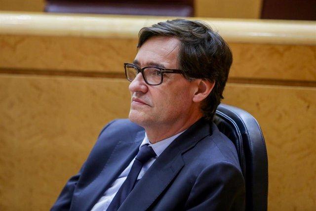 El Ministro de Sanidad, Salvador Illa, durante el pleno en el Senado. En Madrid (España), a 2 de junio de 2020.