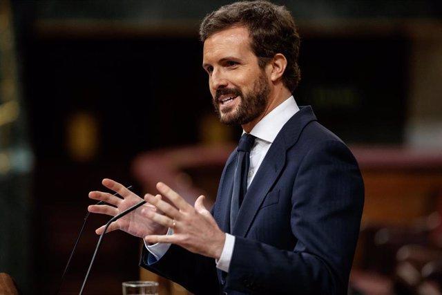 El presidente del Partido Popular, Pablo Casado, durante su réplica en la sesión en la que se ejerce el control al Gobierno y se trata la sexta prórroga del estado de alarma por la crisis del Covid-19. En Madrid, (España), a 3 de junio de 2020.