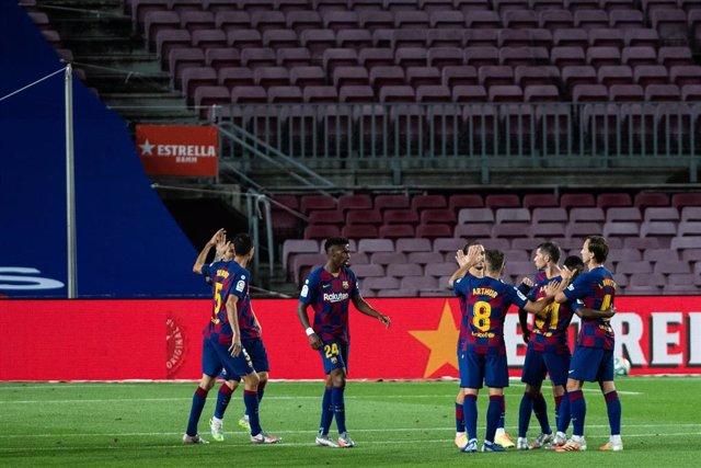Ansu Fati celebra el primer gol del triunfo del FC Barcelona ante el Leganés