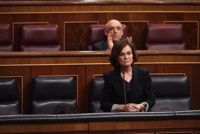 La vicepresidenta primera del Gobierno, Carmen Calvo, interviene durante la sesión plenaria de control al Gobierno en el Congreso. En Madrid, (España), a 10 de junio de 2020.