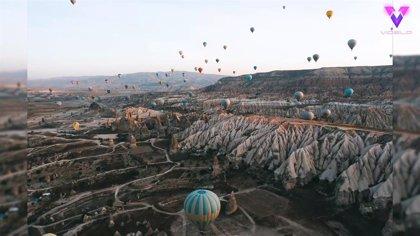 Los vuelos en globo por el cielo de Capadocia, Turquía, a vista de drone