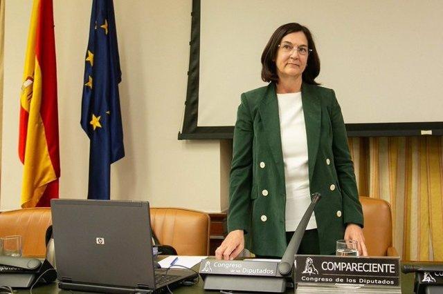 La presidenta de la CNMC, Cani Fernández, a su llegada a la Comisión de Asuntos Económicos del Congreso