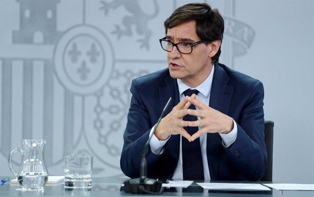 El ministre de Sanitat, Salvador Illa, compareix en la roda de premsa posterior al Consell de Ministres extraordinari de caràcter no presencial a La Moncloa, Madrid (Espanya), 5 de juny del 2020.