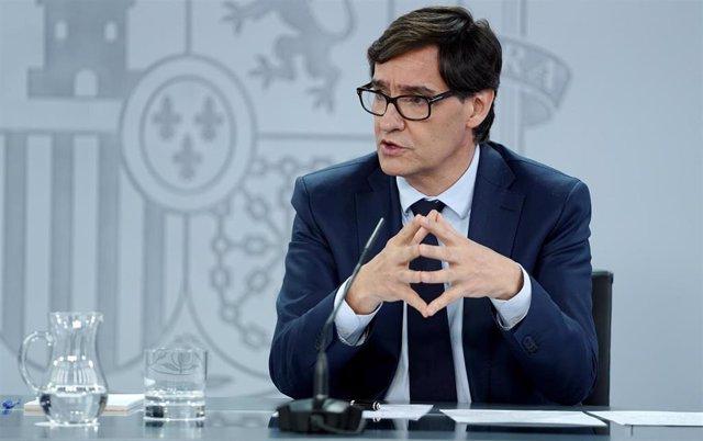 El ministro de Sanidad, Salvador Illa, comparece en rueda de prensa posterior al Consejo de Ministros extraordinario de carácter no presencial. En Moncloa, Madrid (España), a 5 de junio de 2020.