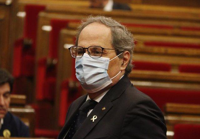 El president de la Generalitat, Quim Torra, en el ple del Parlament, el 17 de juny del 2020.
