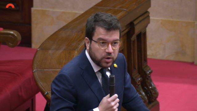 El vicepresident del Govern, Pere Aragonès, en el ple del Parlament del 17 de juny.