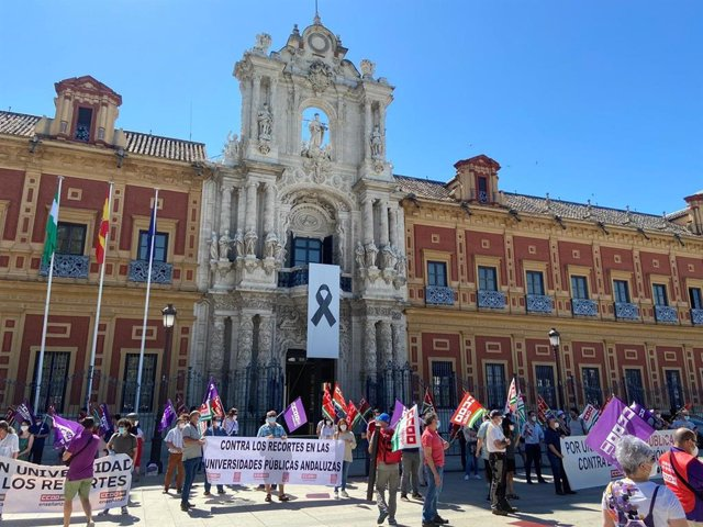 """CCOO protesta a las puertas de San Telmo por """"recortes"""" a las universidades públicas"""