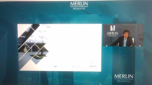 El consejero delegado de Merlin Properties, Ismael Clemente, interviene en la junta de accionistas de 2020, celebrada de forma telemática