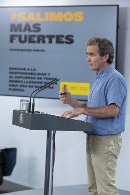 El director del Centro de Coordinación de Alertas y Emergencias Sanitarias, Fernando Simón, comparece en rueda de prensa para informar sobre las novedades del Covid-19. En Madrid, (España), a 9 de junio de 2020.