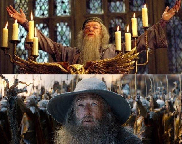 Gandalf de El señor de los anillos y Dumbledore de Harry Potter