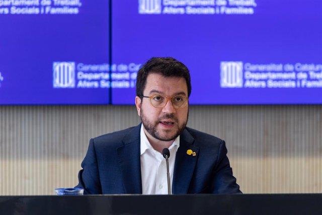 El vicepresident de la Generalitat, Pere Aragonès, en la presentació tant presencial com telemàtica del Pla contra la violència masclista, Barcelona (Catalunya/Espanya), 17 de juny del 2020.