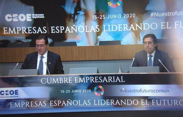 El presidente de Sacyr, Manuel Manrique, interviene en la cumbre empresarial de la CEOE