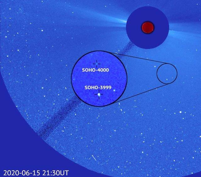 Descubierto el cometa número 4.000 por el observatorio solar SOHO