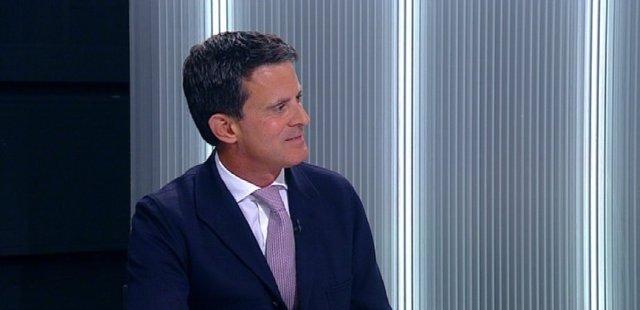 El líder de BCN Canvi, Manuel Valls, en una entrevista de Betevé