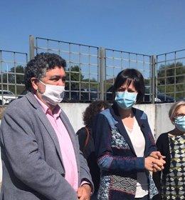 Ana Pontón, portavoz nacional del BNG, en declaraciones a los medios, tras visitar Fagal, en Santiago de Compostela.