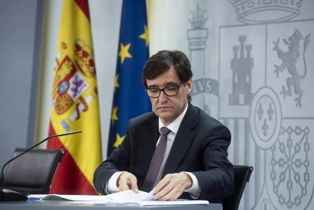 El ministro de Sanidad, Salvador Illa, comparece en rueda de prensa posterior al Consejo de Ministros celebrado en Moncloa, en Madrid (España), a 9 de junio de 2020.