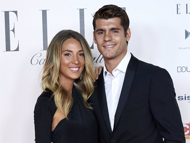 Alvaro Morata and Alice Campello attend ELLE Charity Gala 2019 to raise funds for cancer at Intercontinental Hotel on May 30, 2019 in Madrid, Spain.